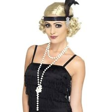 Ladies 20s 1920s Flapper Pearl Necklace Beads 180cm Fancy Dress New by Smiffys