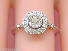 ANTIQUE .50ct MINE DIAMOND HALO PLATINUM SMALL CUSHION ENGAGEMENT RING c1920