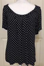 Women's Chaps size XL navy & white polka dot short sleeve top