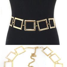 Bling Women Fashion Full Square Metal Wide Chain Stretch Waist Long Belt S~XL