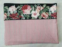 Vtg Croscill Arbor Rose Pink Stripe Twin Flat Sheet Black Floral Cotton Blend