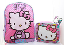 Hello Kitty School Backpack With Lunch Box Set Girls Pink Book Bag Sanrio USA