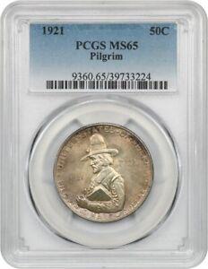 1921 Pilgrim 50c PCGS MS65 - Silver Classic Commemorative