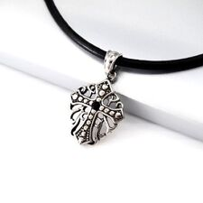 Silver Black Shield Cross Stainless Steel Pendant Black Leather Choker Necklace