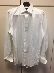 David Donahue White Textured Button Front Shirt French Cuff 17 — 34/35