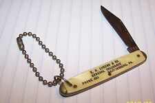 VINTAGE ADVERTISING KEYCHAIN PEN POCKET KNIFE PA. 3 DIGIT PHONE NUMBER U.S.A.
