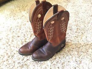 "Double H USA Womens #5154 12"" Buckaroo Brown Leather Western Cowboy Boots Sz 8W"