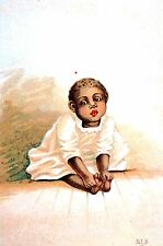 Black Americana 1890 SWEET BABY GIRL Antique Matted Lithograph Art Print