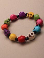 NUOVO Coloured Skull Bead Bracciale Halloween Gotico Gioielli Uomo Donna