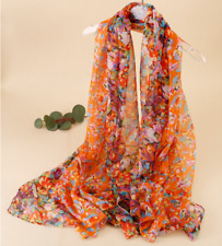 Silk Scarf Women neckerchief large Shawl Wrap Floral yellow red blue