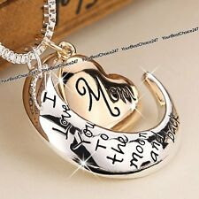 I Love you to the Moon and Back Necklace Heart Mom Engraved Mother Gifts for Her