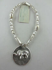 """Lydell Nyc Silver Plated Bead Elephant """"Luck"""" Stretch Charm Bracelet Nwt"""