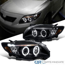 For Toyota 09-10 Corolla LED Halo Black Projector Headlights Head Lamps Pair