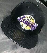 New Era 59Fifty Cap NBA Los Angeles Lakers Black PremiumLeather Fitted Hat 7 1/4