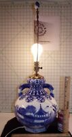 """Vintage Asian Oriental Blue and White Landscape Dragon Handle Vase Lamp 29"""" Tall"""