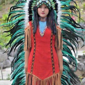 Womens Green headdress indian headpiece headband burning man festival costume