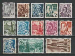 GERMANY 1947 FRENCH / FRANZÖSISCHE ZONE - BADEN - MNH ** FULL SET