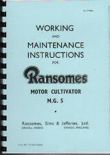 """Ransomes """"M.G.5"""" Crawler Tractor Instruction Book"""