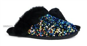 UGG Scuffette II Stellar Sequin Black Fur Slippers Womens Size 10 *NIB*