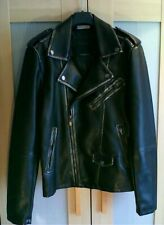 ZARA MAN Lads Mens Biker Jacket Faux Leather Heavyweight Cropped Fitted Jacket