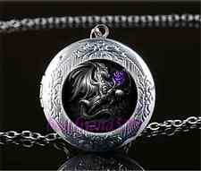 Black Dragon And Rose Cabochon Glass Tibet Silver Locket Pendant Necklace