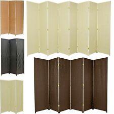 3 4 5 6 7 8 10 Panel Room Divider Privacy Screen Weave Design Fiber Black Brown