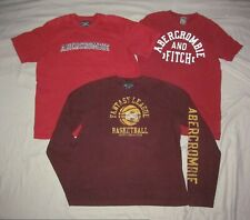 Abercrombie & Fitch Men's XL Vintage Lot 3 pc red shirt two Quality heavyweight