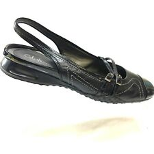 COLE HAAN Womens Shoes Black Patent Leather Cap Toe Buckle Slingback Flat 9.5B