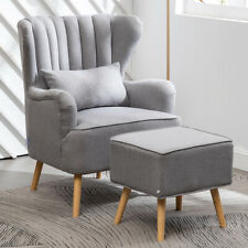 Modern Linen Fabric Fireside Armchair Padded Club Chairs with Stools Office Cafe