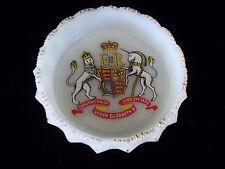 Queen Elizabeth II painted?? Coronation Unicorn Lion  Milk Glass Ashtray Bowl