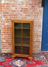 English Antique Solid  Oak Art & Craft Small Bookcase / Display Cabinet