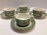 Old Curiosity Shop Tea Cup & Saucers Set of 4 Green Royal China USA