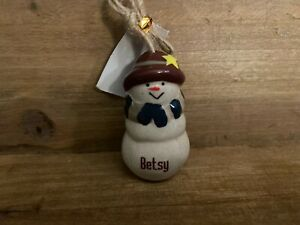 BETSY Personalized Snowman Ornament GANZ