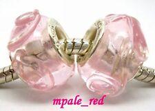 Beautiful Lap-ups Flower Lampwork Glass Beads Fit European Charm Bracelet