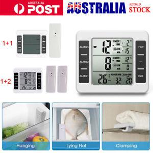 1/2 Sensor Wireless Digital Freezer Fridge Thermometer Indoor Outdoor LCD Alarm