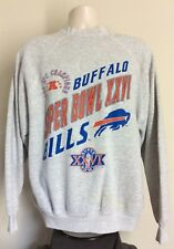 Vtg 1991 1992 Buffalo Bills Super Bowl XXVI Sweatshirt Gray XL 90s Raglan NFL