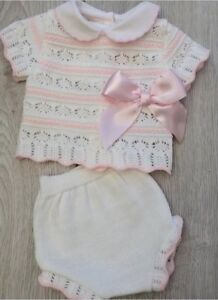 Baby  Girls Pink Knitted Pink & white striped romper & top set pom poms 0-9M