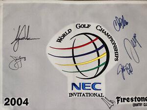 BRIDGESTONE INVITATIONAL Flag Tiger Woods Signed MUTI SIGNED By 6 PSA Coa