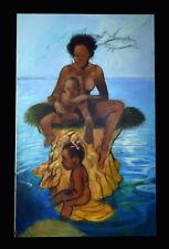 "48"" Original Henry C. Porter Mother Baby Girl Boy Black Americana Painting Decor"
