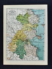 1902 Ireland Map - Dublin County - Kingston Bray Howth Swords Skerries Howth