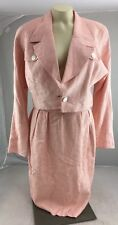 VTg 90s Christian Dior 2pc Crop Blazer pencil skirt suit Houndstooth Pink 6 USA