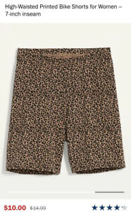 """Old Navy High Waisted Cheetah Print Bike Shorts For Women 7"""" Inseam Size S"""