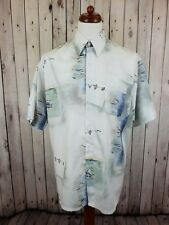 Vtg S-sleeve Crazy Abstract leaf Print Pattern Oversize Wavy Shirt -L- GS16