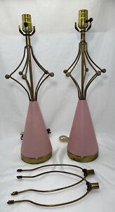 Mid Century Atomic Metal Sputnik Pink Gold Pair of Pottery Table Lamps Vintage