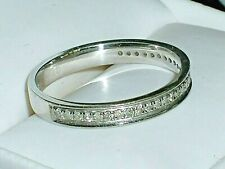 9CT SOLID WHITE GOLD GENUINE DIAMOND ETERNITY RING or WEDDING BAND SIZE N