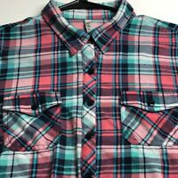 RNB Women's Long Sleeve Button Up Shirt XL Multicolor Plaid Two Pockets Casual