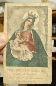 1835 Engraving - Prayer Card By Maria Santissima IN Castle By Vecchiano Pisano