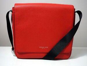 Michael Kors Men's Russel Pebble Leather Crimson Red Medium Messenger Bag