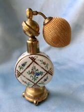 Vintage 1950's French Porcelain Atomizer Perfume Bottle: Gilded Floral Motif