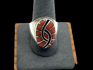 VINTAGE SIGNED 925 DICKIE & AMY QUANDALACY ZUNI HUMMINGBIRD CORAL RING SIZE 10